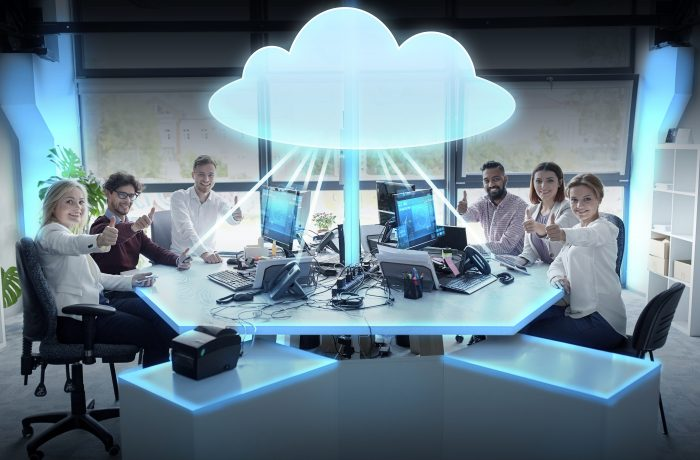 happy business team with cloud computing hologram