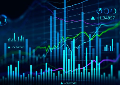 Concept of stock market and fintech forex concept. Blurry blue digital charts over dark blue background. Futuristic financial interface. 3d render illustration.